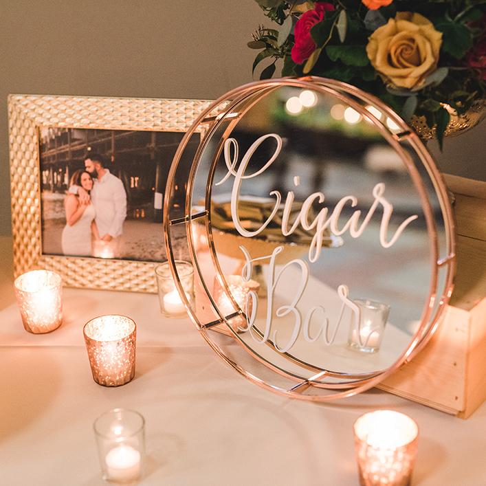 Sweet + Crafty | Wedding Mirror Cigar Bar Sign Calligraphy