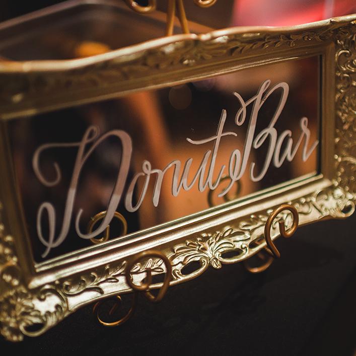 Sweet + Crafty | Wedding Mirror Donut Bar Sign Calligraphy