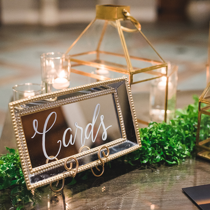 Sweet + Crafty | Wedding Mirror Cards Sign Calligraphy