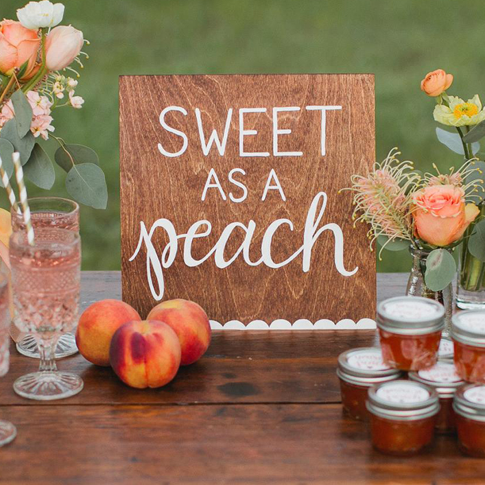 Sweet + Crafty | Wedding Stained Wood and White Calligraphy Favor Sign