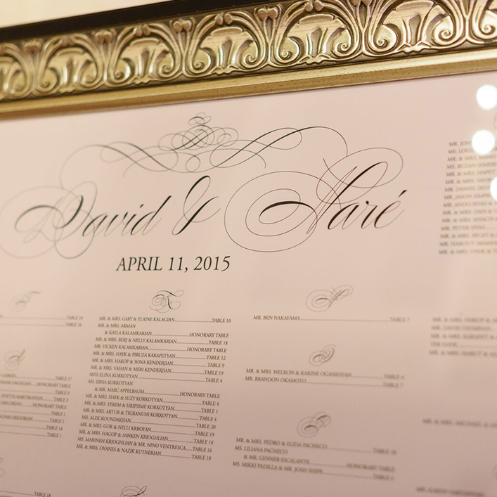 Sweet + Crafty | Gold Framed Wedding Seating Chart
