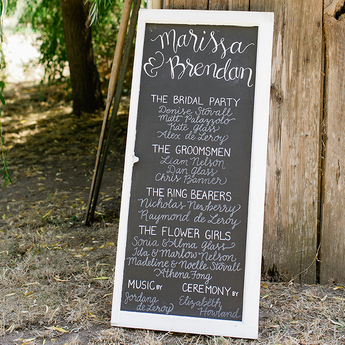 Sweet + Crafty | Chalkboard Wedding Bridal Party Sign Calligraphy