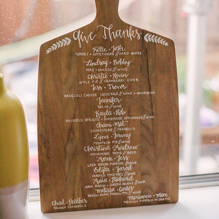 Sweet + Crafty | Friendsgiving Breadboard Menu Calligraphy