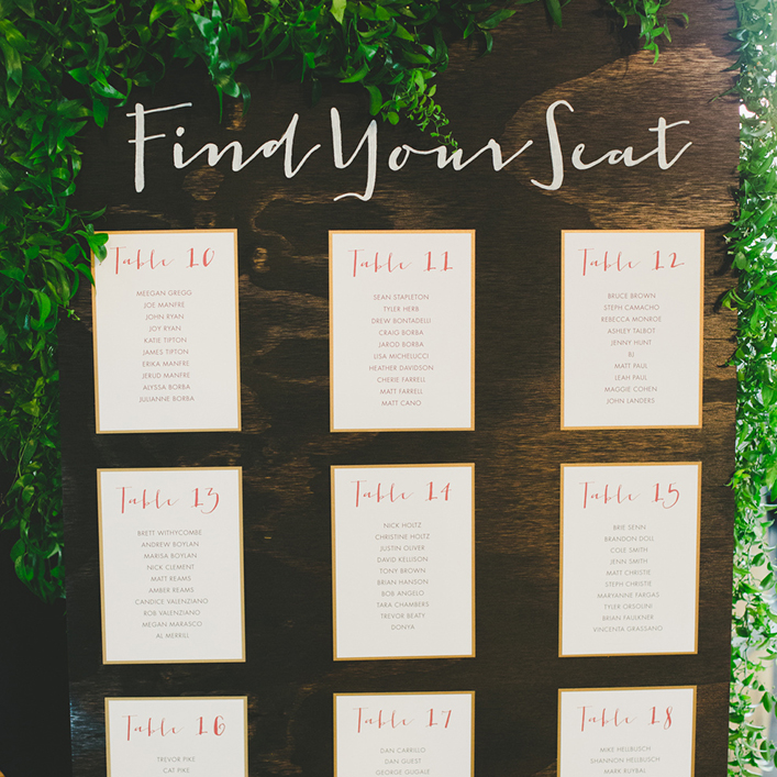Sweet + Crafty | Stained Wood and Cardstock Seating Chart Sign Calligraphy