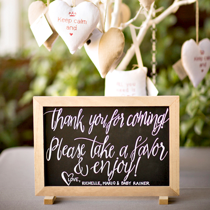 Sweet + Crafty | Chalkboard Baby Shower Favor Sign Calligraphy