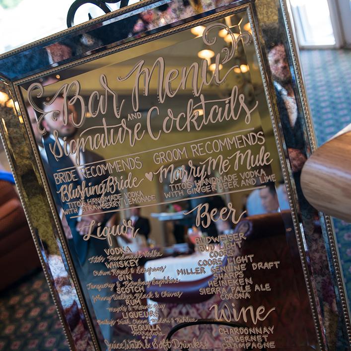 Sweet + Crafty | Mirror Wedding Bar Menu Calligraphy