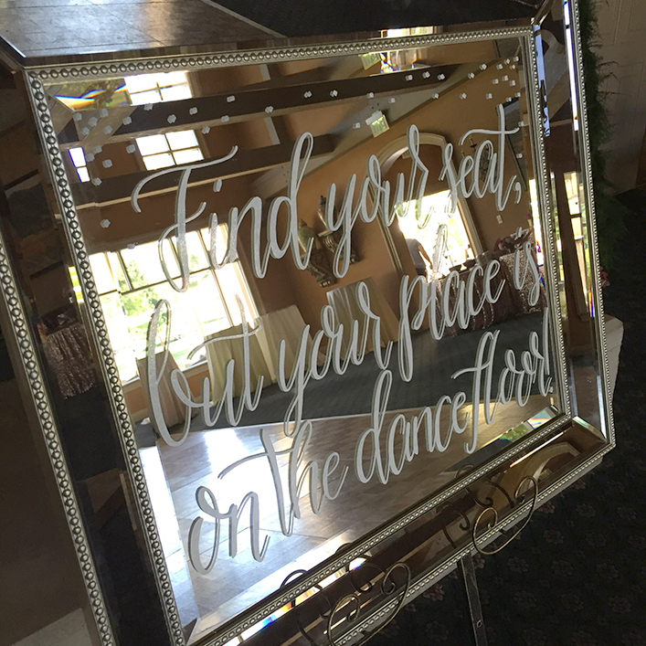 "Sweet + Crafty | Mirror Seating Chart ""Find Your Seat"" Sign Calligraphy"