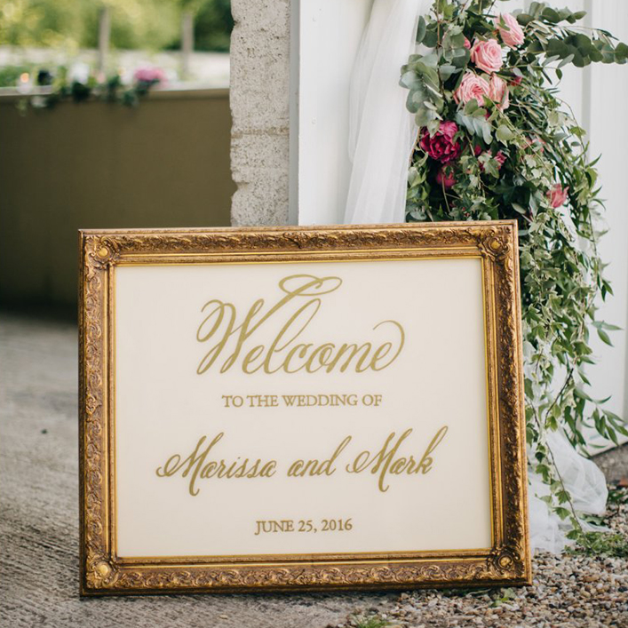 Sweet + Crafty | Gold Framed Plexiglass Calligraphy Welcome Sign