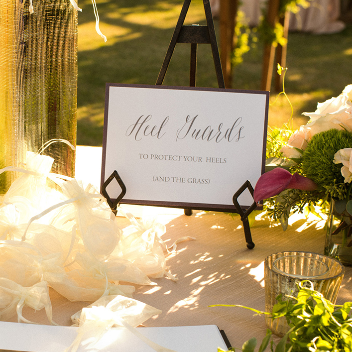 Sweet + Crafty | Cardstock Wedding Heel Guards Sign