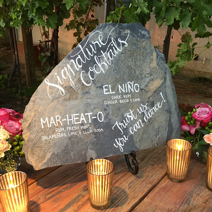 Sweet + Crafty | Slate Moonstone Wedding Bar Menu Calligraphy Sign