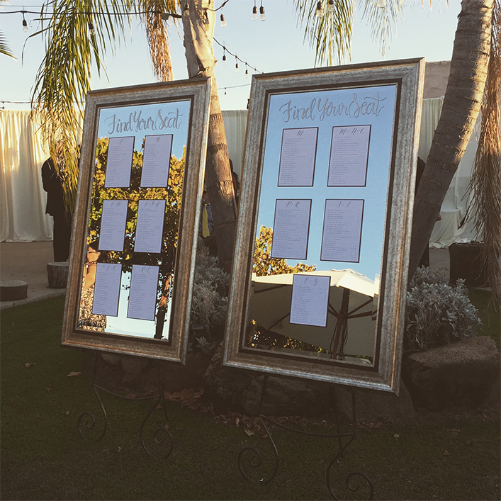 Sweet + Crafty | Mirror and Cardstock Wedding Seating Chart Calligraphy