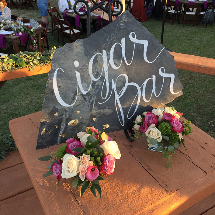 Sweet + Crafty | Slate Moonstone Wedding Cigar Bar Calligraphy Sign