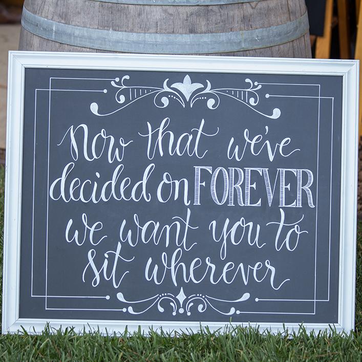Sweet + Crafty | Chalkboard Wedding Ceremony Sign Calligraphy
