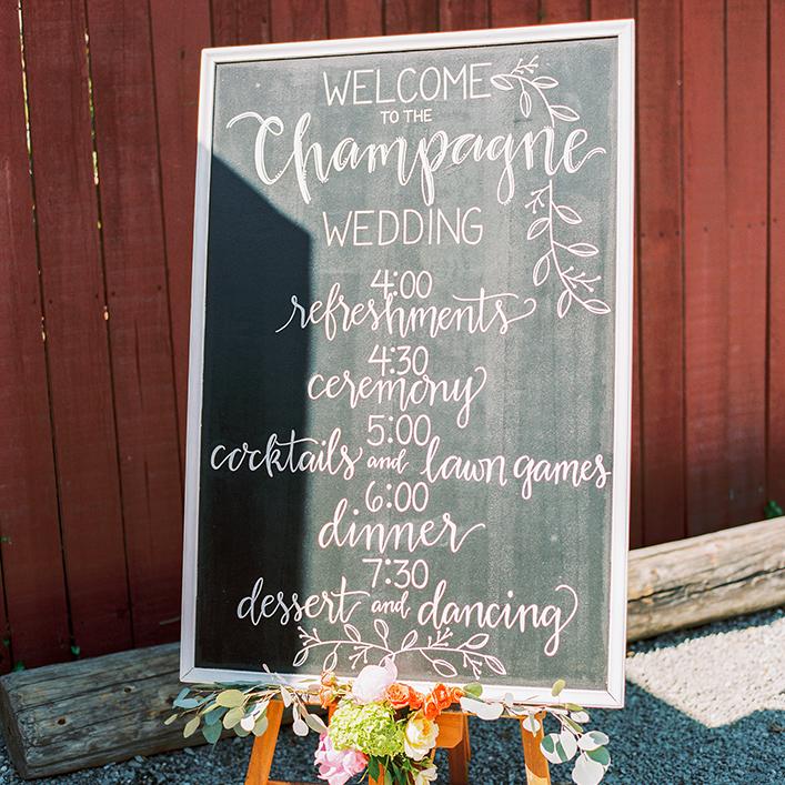 Sweet + Crafty | Wedding Chalkboard Program Sign