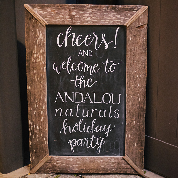 Sweet + Crafty | Chalkboard Corporate Holiday Party Welcome Sign Hand Lettering
