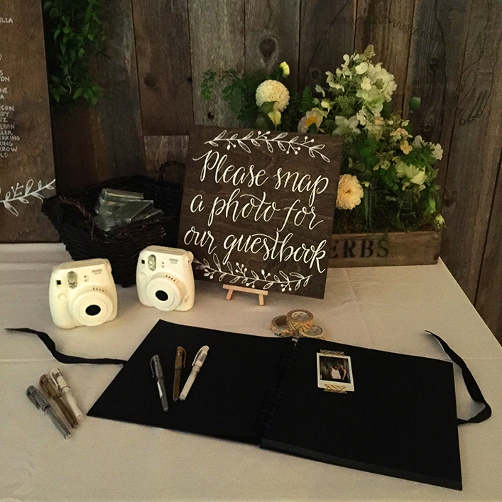 Sweet + Crafty | Stained Wood and White Calligraphy Guestbook Sign