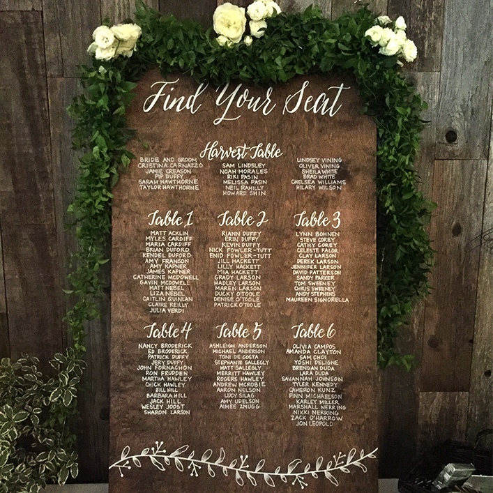 Sweet + Crafty | Stained Wood and White Calligraphy Wedding Seating Chart