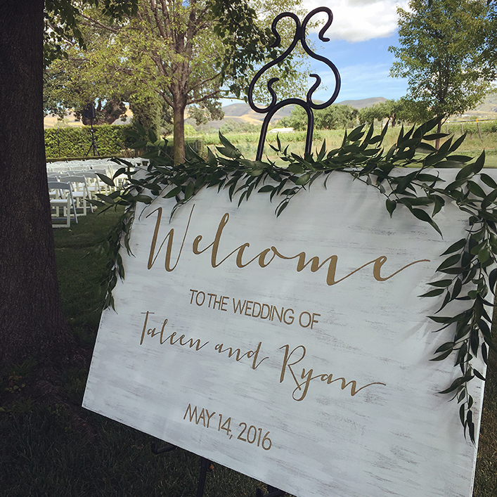 Sweet + Crafty | White Washed Wood and Gold Calligraphy Wedding Welcome Sign