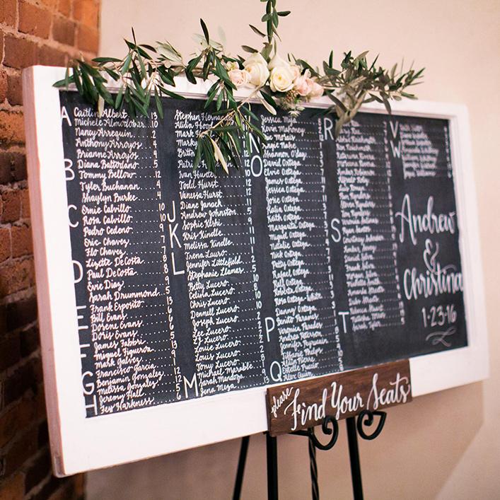 Sweet + Crafty | Chalkboard Wedding Seating Chart Calligraphy
