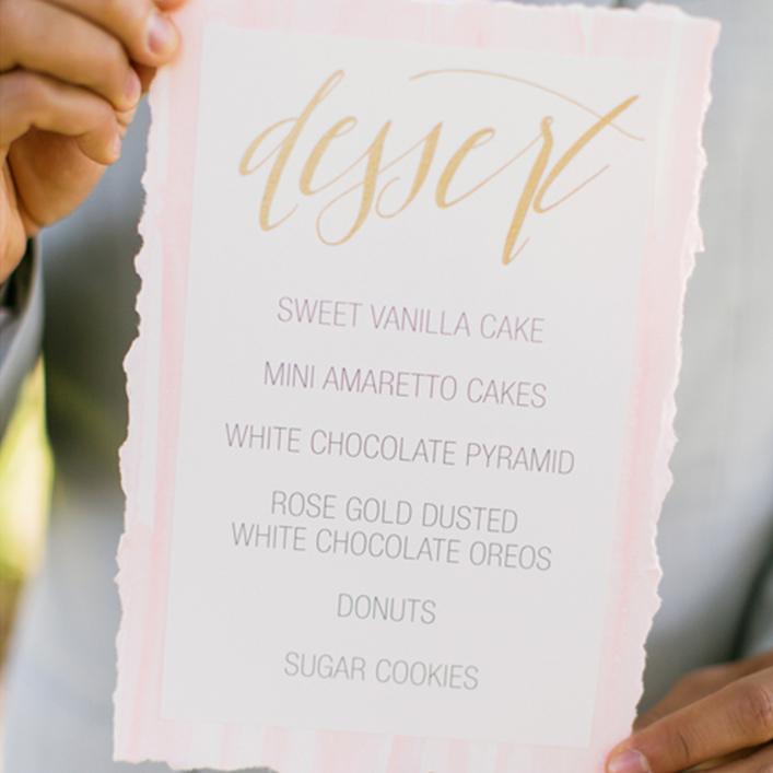 Sweet + Crafty   Wedding Dessert Signage Calligraphy