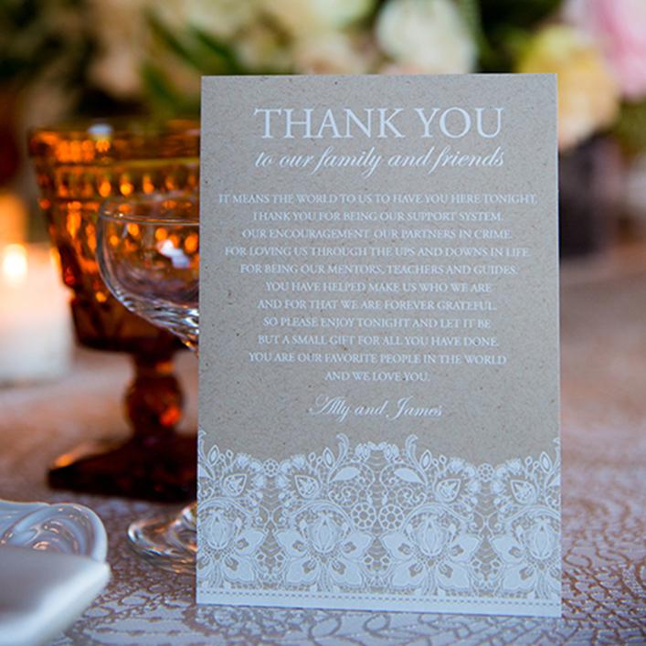 Sweet + Crafty   Wedding Kraft Cardstock Thank You Notes
