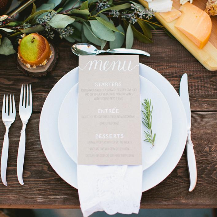 Sweet + Crafty   Wedding Kraft Paper and White Calligraphy Menu Design