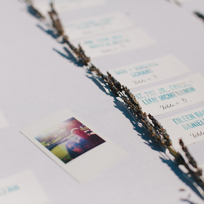 Sweet + Crafty   Wedding Watercolor Design and Lavender Sprig Escort Card Display