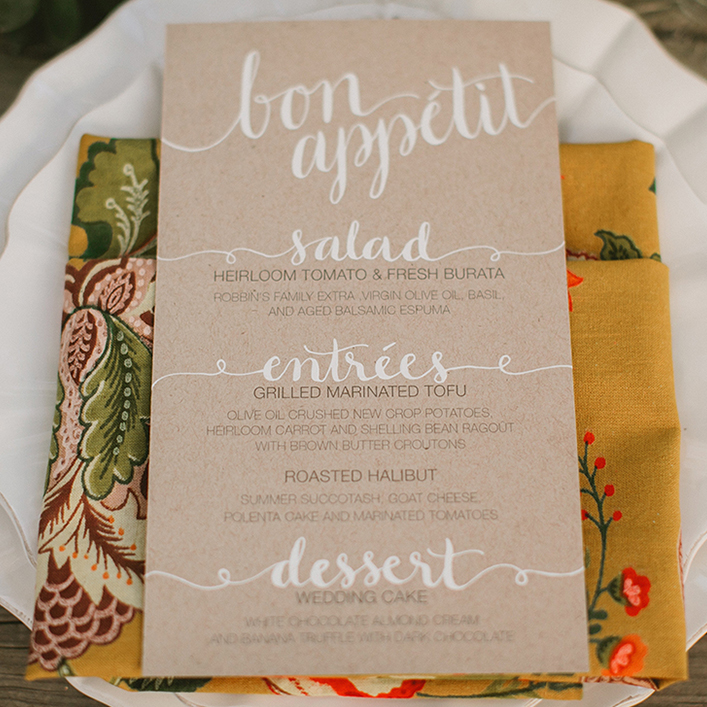 Sweet + Crafty   Wedding Vintage Garden Wedding Kraft Cardstock and White Calligraphy Menu