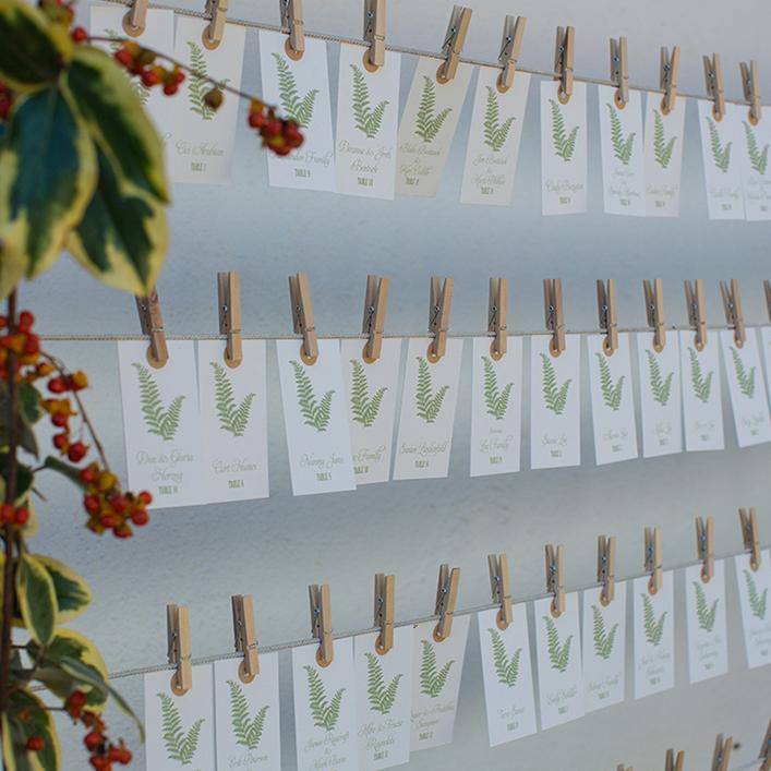 Sweet + Crafty   Wedding Fern Escort Cards Design