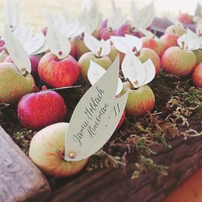 Sweet + Crafty   Wedding Apple Leaves Escort Card Design