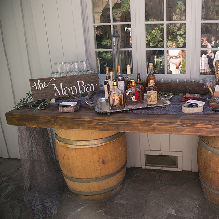 Sweet + Crafty | Stained Wood and White Calligraphy Wedding Man Bar Sign