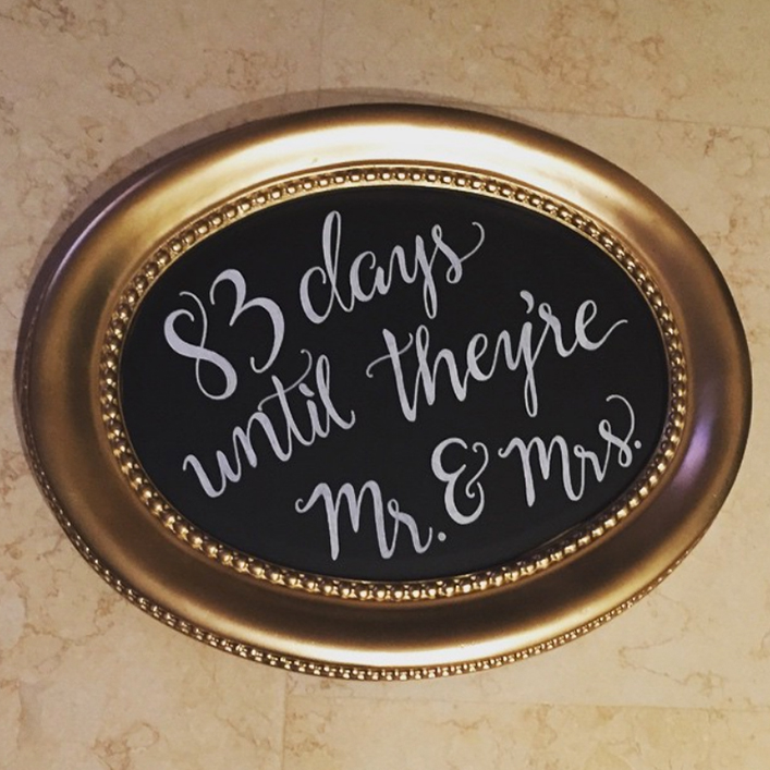 Sweet + Crafty | Chalkboard Bridal Shower Wedding Countown Sign Calligraphy