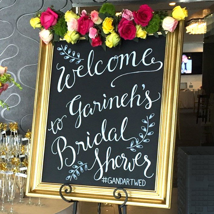Sweet + Crafty | Chalkboard Bridal Shower Welcome Sign Calligraphy
