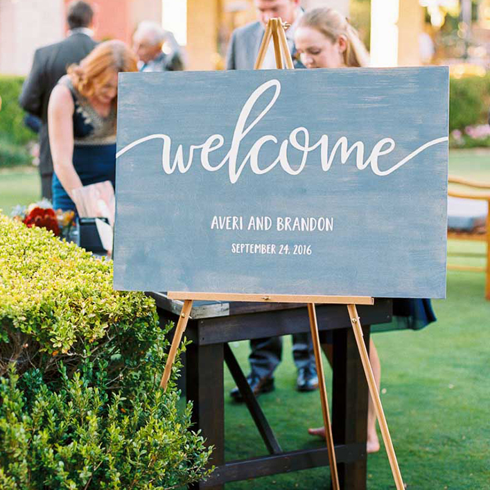 Sweet + Crafty | Blue Washed Wood and White Calligraphy Wedding Welcome Sign