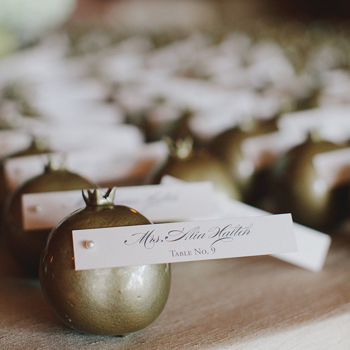 Sweet + Crafty   Wedding Pomegranate Escort Cards