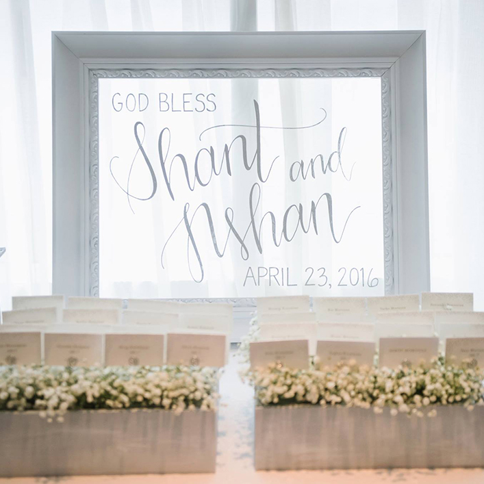 Sweet + Crafty | Framed Glass Baptism Sign Calligraphy