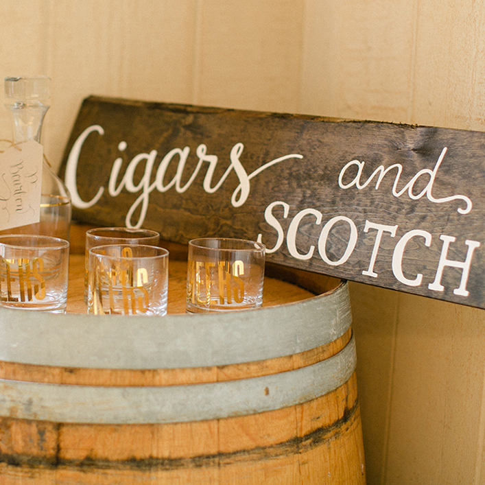 Sweet + Crafty | Wedding Cigar and Scotch Bar Stained Wood and White Calligraphy Sign