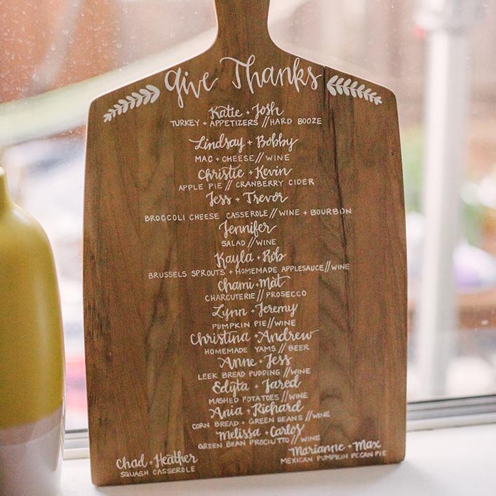 Sweet + Crafty | Friendsgiving Wood Breadboard Menu Calligraphy