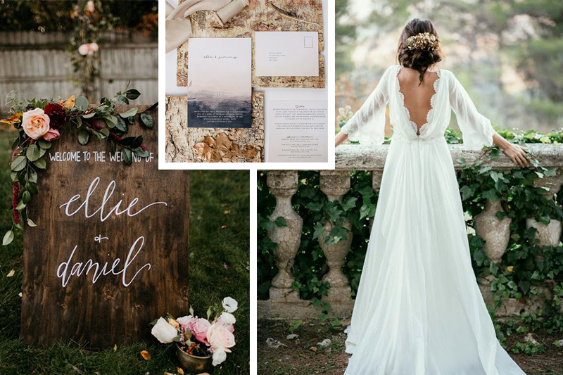 Wood welcome sign by  Kenley Event Design  // Photo by  Jillian Bowes  // via  100 Layer Cake   Invitation by  Lilac & White   Bridal gown source unknown