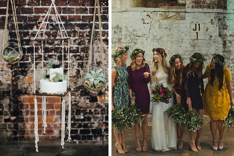 Cake display designed by  Glitz Events  // Cake by  A Piece of Cake  // Photo by  Monika Gauthier Photography  // Terrariums by  Bottled Blooms  // via  Ruffled Blog   Bride and bridesmaid dresses photographed by  Dan O'Day  // via  Buzzfeed