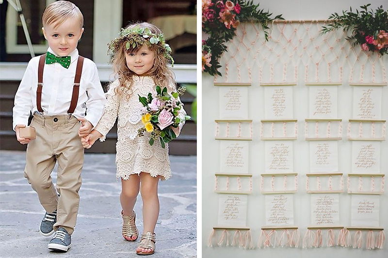 Ring boy and flower girl outfits photographed by  Kortnee Kate Photography  // Source of outfits unknown  Seating chart for a wedding designed by  Amorology  // Photo by  Melissa Biador  // via  Ruffled Blog