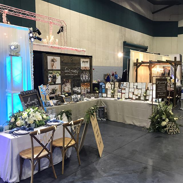 Thanks for an awesome bridal show today @premierbridefresno! I had a a great time partnering with @djdikofresno of @entertainment360llc to set up our huge 40' booth space and meeting all the wonderful brides and grooms. Rentals: @standardpartyrentals @latavolalinen @glassybaby // DJ, Lighting and Photo Booth: @djdikofresno @entertainment360llc // Drapery: @gotchacoveredfresno // Floral Design: @stemsfresno // Event Planning, Design + Lettering: @sweetandcrafty // Cake: @frostedcakery // Laser Wood Cutouts: @modernbirchco. #sweetandcrafty #fresnowedding #fresnoweddingplanner #wedding #centralvalleyweddings #eventplanning #eventdesign #customdesign #invitations #weddingstationery #weddingsignage #customweddingdesign #bridalfair #bridalshow #weddingfair