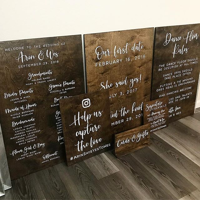 I have been busy behind the scenes with A LOT of exciting things happening. But before I share some  news, here is a look at the most recent set of signs headed to a super sweet couple for their big day. . . . . . #sweetandcrafty #woodsigns #customdesign #handpainted #moderncalligraphy #weddingsigns #weddingsignage #weddingdetails #weddingdesign #woodweddignsigns #welcomesign #programsign #relationshipmilestonessign #hashtagsign #dancefloorrulessign #cardsandgiftssign #signaturecocktsailsmenu #barmenu #eventdetails #ido #brideandgroom #wedding #signpainter