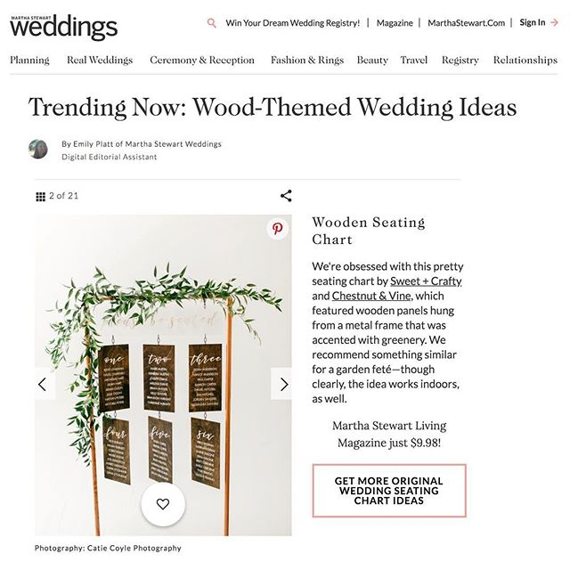 Oh heyyyyyy, Martha @martha_weddings! Thanks for helping me check another goal off my list! Honored you chose the sign I created for a styled shoot last year as one of your picks for trending wood-themed wedding ideas. . . . . . Photo: @catiecoylephoto Venue: @sfstudiosmith Planner/Designer: @sweetandcrafty Florist: @chestnutandvine Hair Stylist: @hair_by_missy Makeup Artist: @blushbeautystyling Videography: @imaginemproductions Rentals: @encoreeventsrentals Linen: @latavolalinen Tabletop Decor: @crateandbarrel, @cb2, @sweetandcrafty Jewelry: @jewelryexchangeco Cake: @redflourco Marshmallows: @snackapade Invitation, Signage & Stationery: @sweetandcrafty Bridal Jumpsuit: @jilljillstuart Bride Shoes: @sam_edelman Maid of Honor Dress: @showmeyourmumu  Groom Suit: @hm Welcome Basket Coffee: @henryshouseofcoffee Ring Box: @the_mrs_box #sweetandcrafty #customdesign #woodsign #customsigns #seatingchart #customseatingchart #copperpipe #hangingseatingchart #weddingdetails #styledshoot #woodseatingchart #featured #sweetandcraftyfeatured #marthastewart #marthastewartweddings #marthaweddings #goals