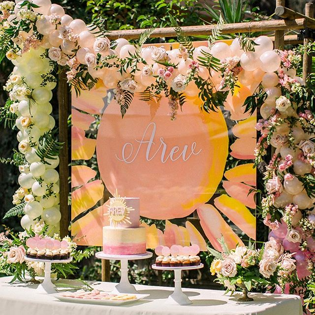 FEATURED ON @inspiredbythis // I love weddings, but occasionally I get to have fun with other events like this beautiful baptism celebration designed + coordinated by @simplelittledetails! Taleen sent me a photo of the invitation to base the dessert backdrop design on. I hand painted the back of this 4' x 4' clear acrylic and added the baby girl's name to the front side using vinyl. For a cohesive look, I also painted the backs of the clear acrylic table numbers, with the same colors as the backdrop, in an ombré style. The florals and balloons really took the design to a whole new level! Arev means sun in Armenian. . . . . . . Event Design + Coordination: @simplelittledetails Photography: @majestapatterson Flowers: @amyburkedesigns Linens: @latavolalinen Rentals: @williamspartyrentals  Rentals: @hensleyeventresources Table Numbers + Dessert Backdrop Sign: @sweetandcrafty  Balloons: @sanjoseballoons Cake & Cupcakes: @sweettoothconfectionsbakery Macarons: @chantalguillon
