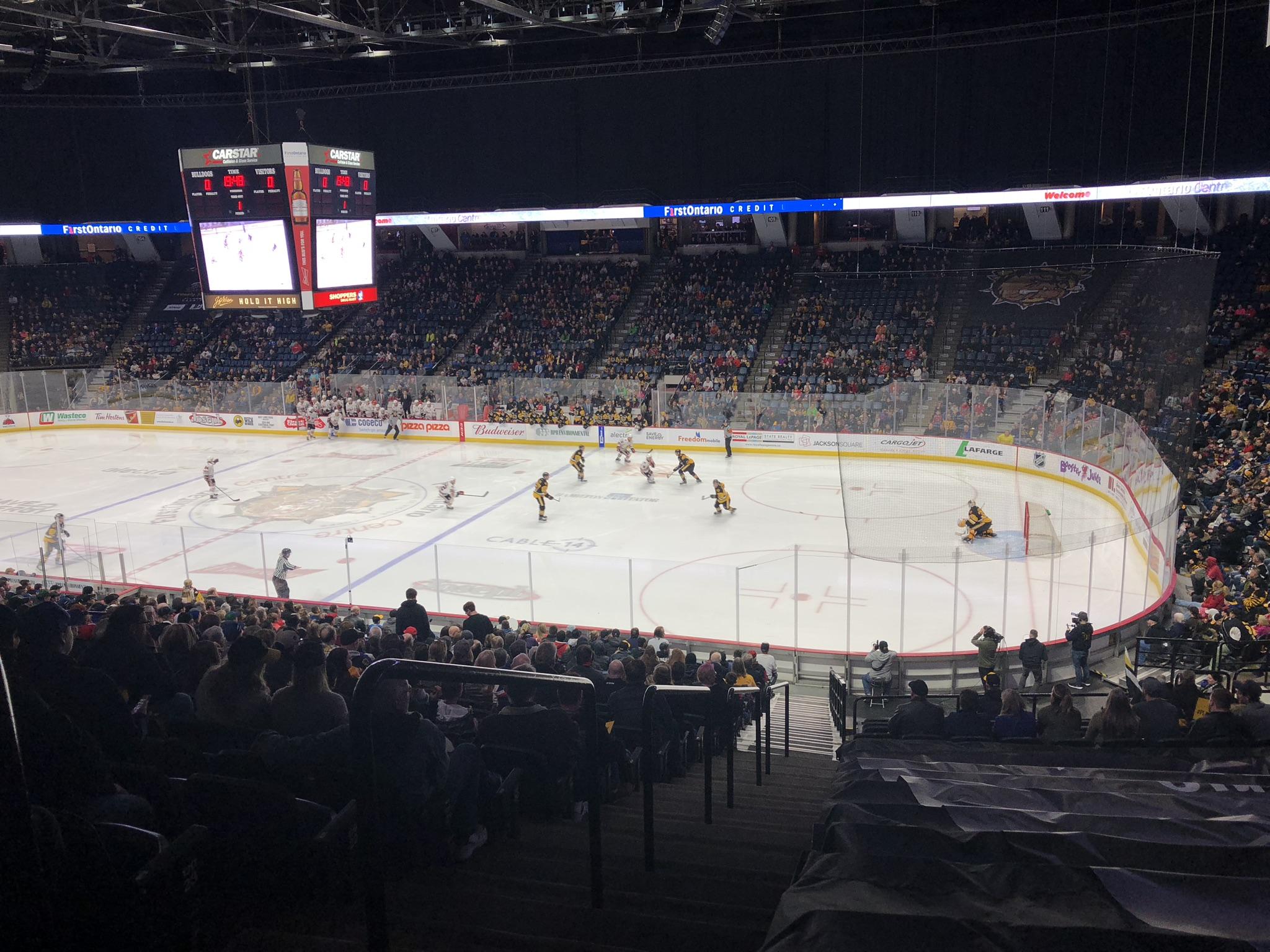 The Bulldogs against the Niagara Ice Dogs.