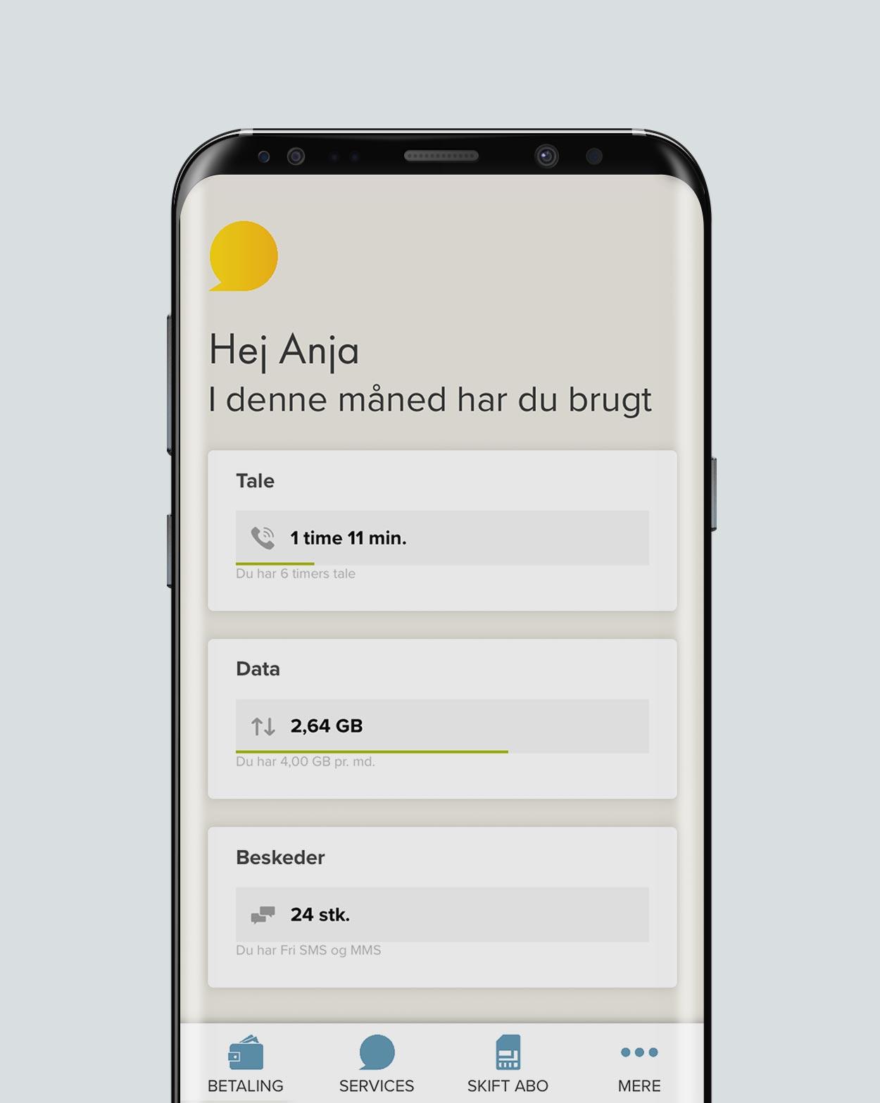 Cbb app viser data taletid og beskeder