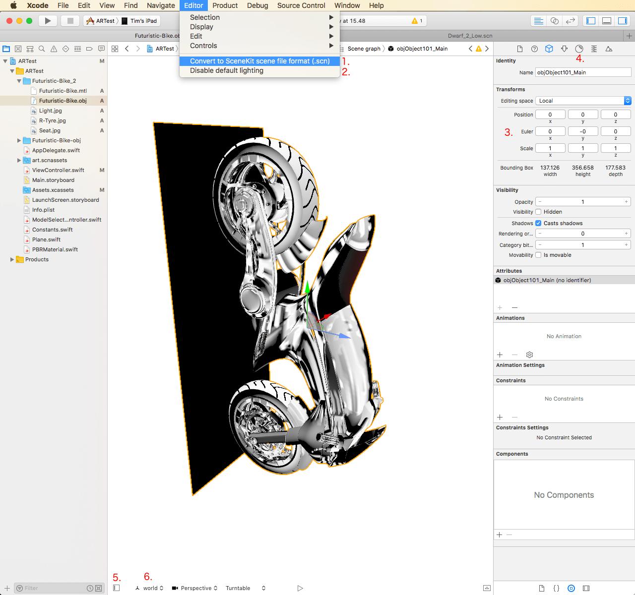(#1: Convert to SceneKit scene file format, #2 Enable default lighting, #3 Roter figuren under Euler , #4 farver, lys og teksturer, #5 Scene Graph View, #6: lokal- og verdenskoordinater)