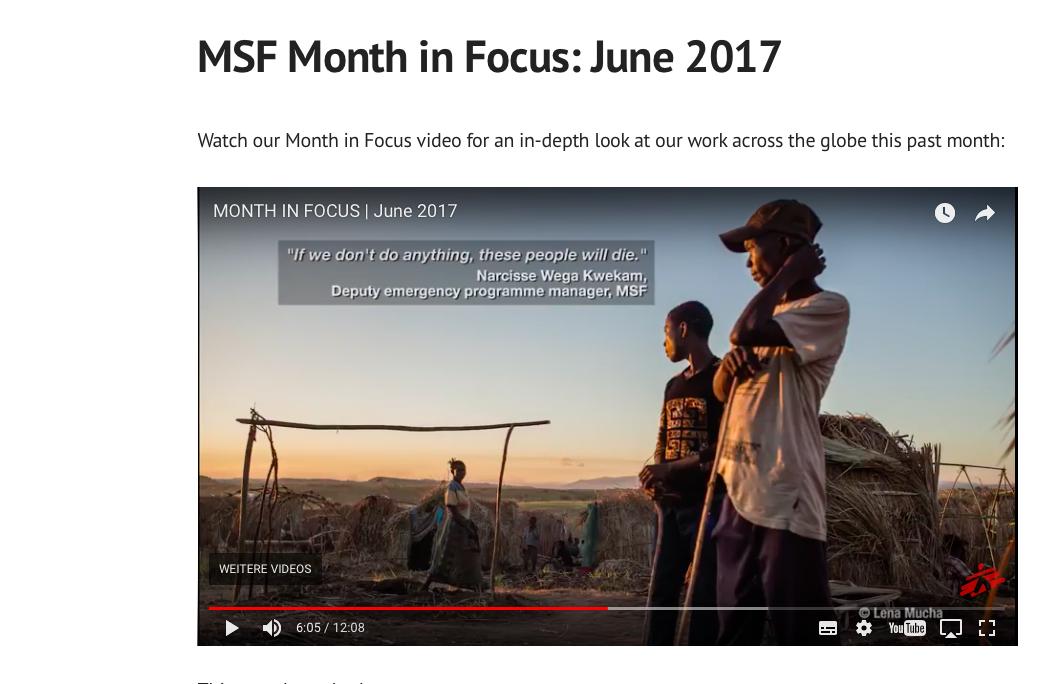 MSF Month in Focus, June 2017