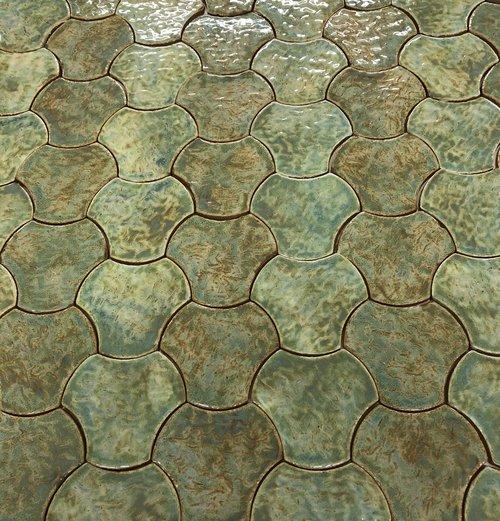 Concave Arc Green Tile Pattern
